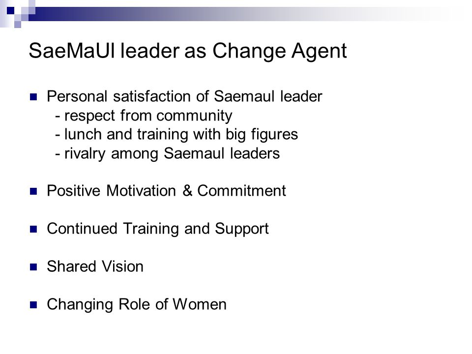SaeMaUl leader as Change Agent