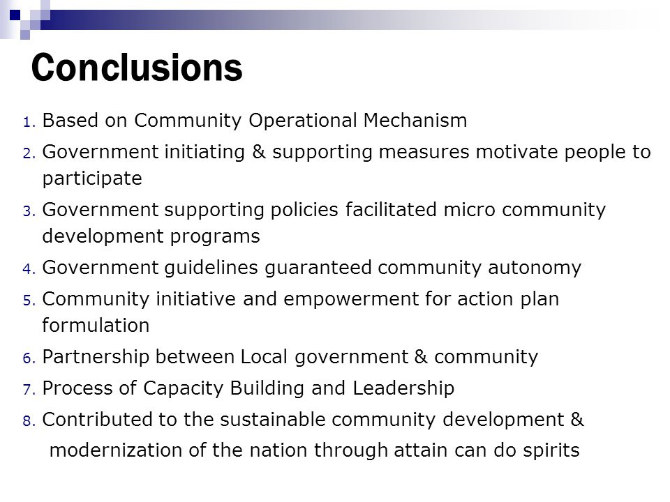 Conclusions Based on Community Operational Mechanism