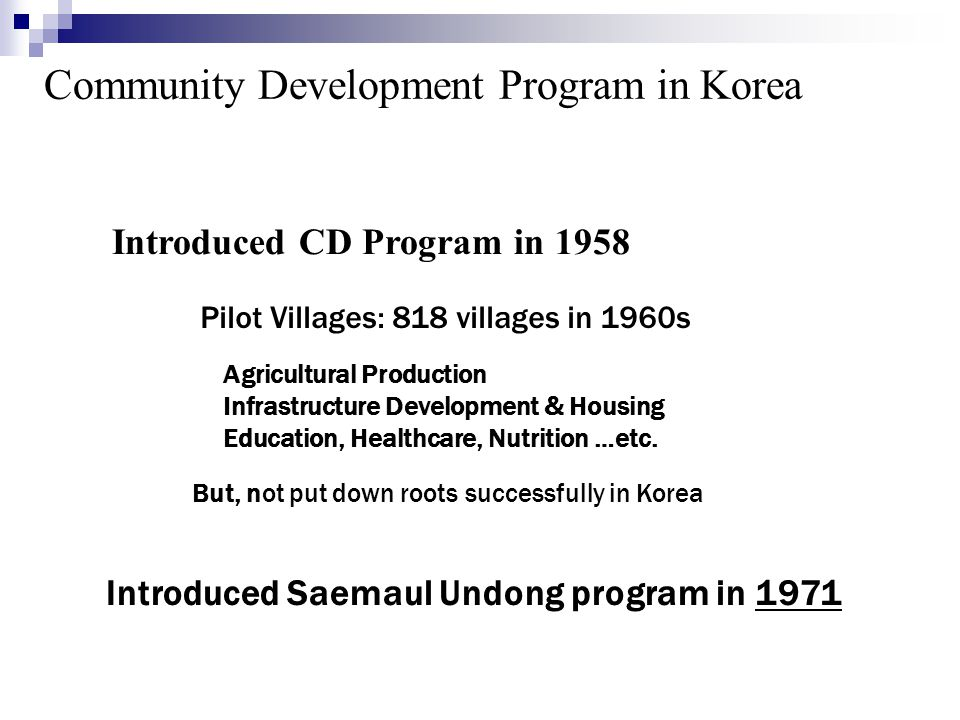 Community Development Program in Korea