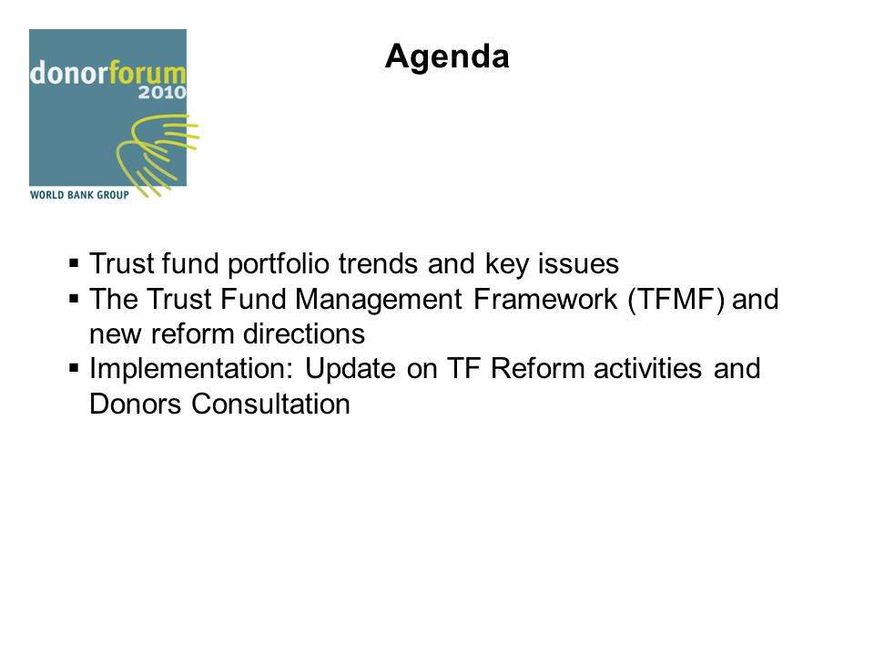 Agenda Trust fund portfolio trends and key issues