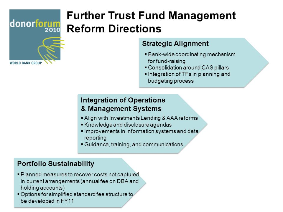 Further Trust Fund Management Reform Directions