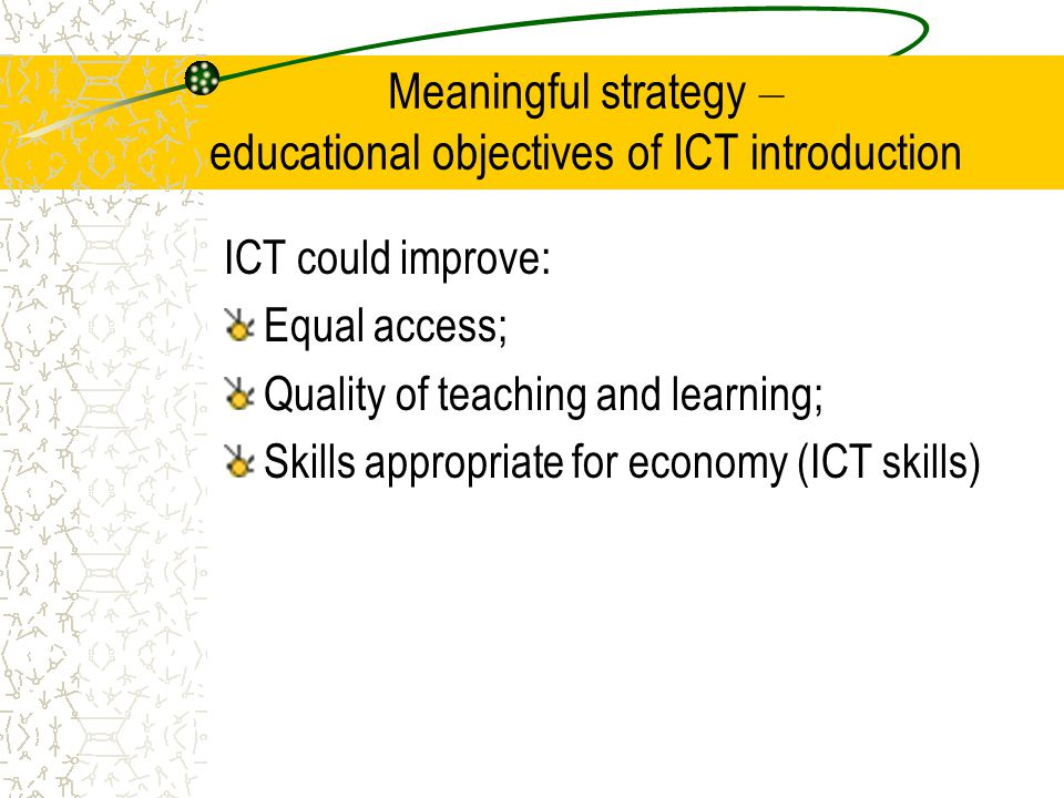 Meaningful strategy – educational objectives of ICT introduction