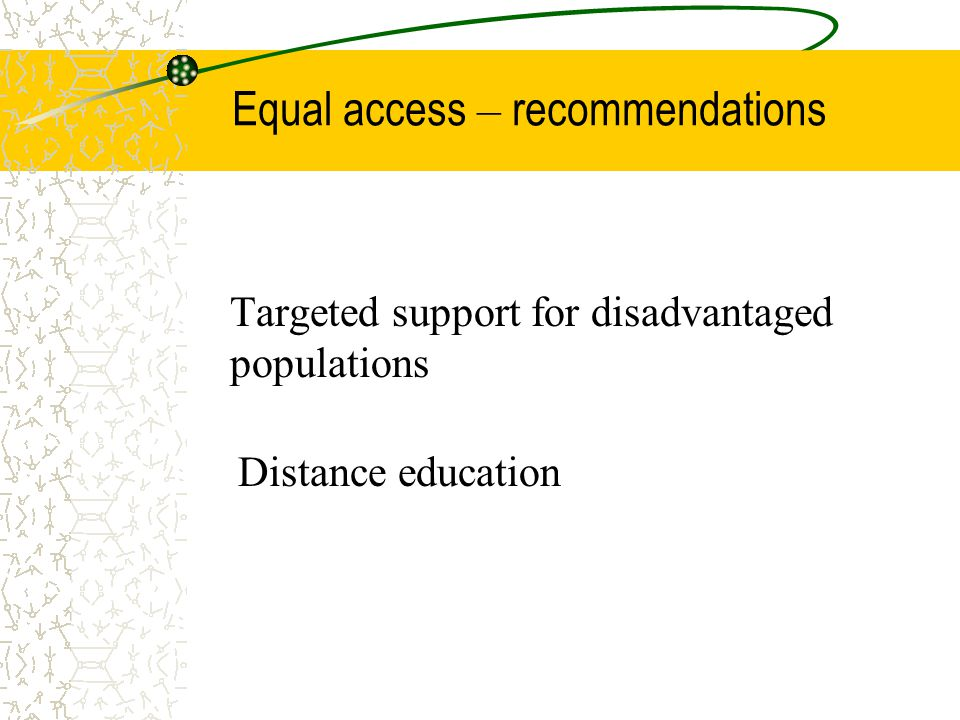 Equal access – recommendations