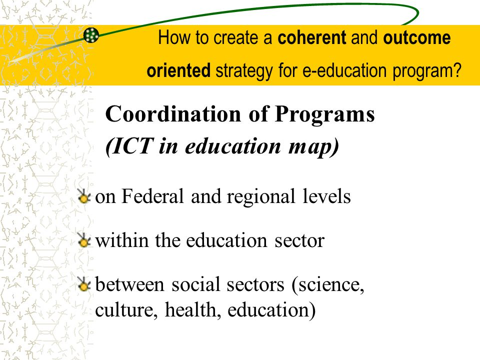 Coordination of Programs (ICT in education map)