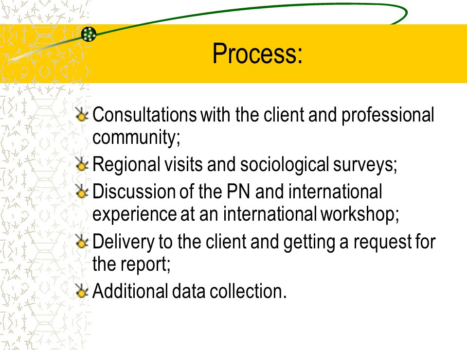 Process: Consultations with the client and professional community;