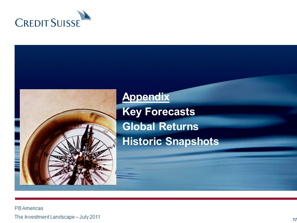 Appendix Key Forecasts Global Returns Historic Snapshots 17