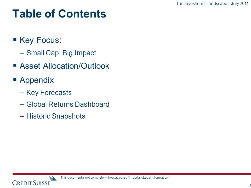 Table of Contents Key Focus: Asset Allocation/Outlook Appendix