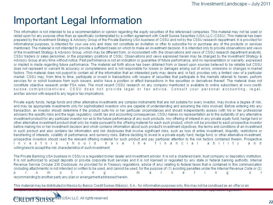 Important Legal Information