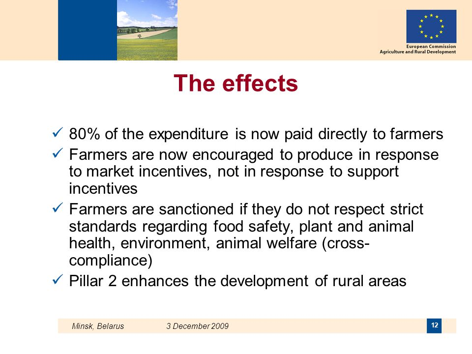 The effects 80% of the expenditure is now paid directly to farmers