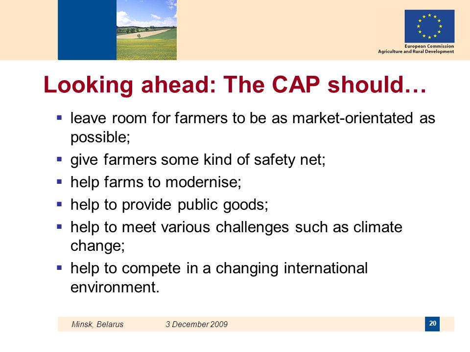 Looking ahead: The CAP should…