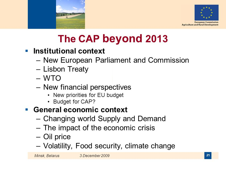 The CAP beyond 2013 Institutional context