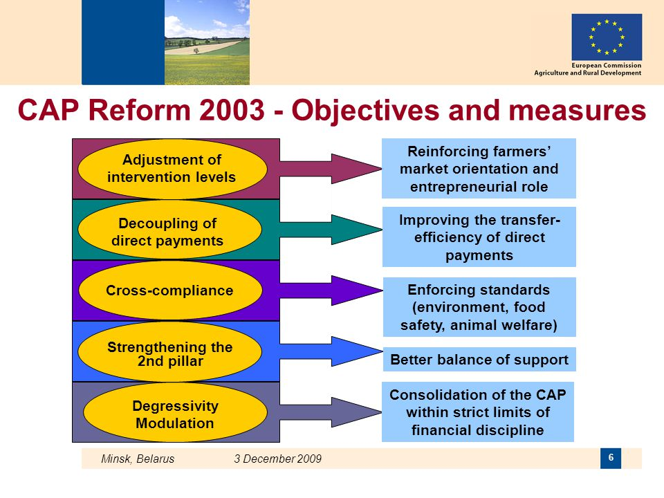 CAP Reform 2003 - Objectives and measures