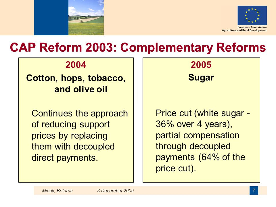 CAP Reform 2003: Complementary Reforms