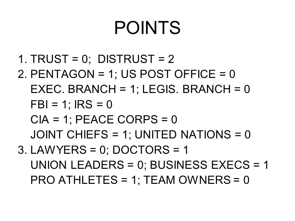POINTS 1. TRUST = 0; DISTRUST = 2 2. PENTAGON = 1; US POST OFFICE = 0