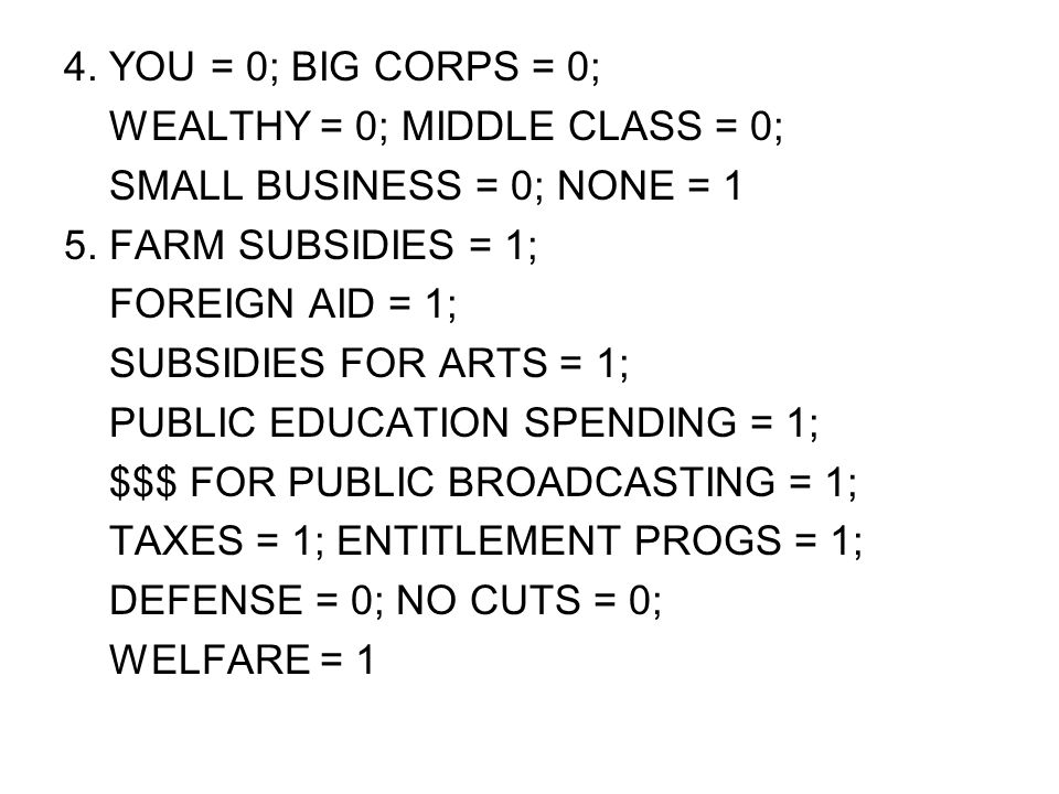 4. YOU = 0; BIG CORPS = 0; WEALTHY = 0; MIDDLE CLASS = 0; SMALL BUSINESS = 0; NONE = 1. 5. FARM SUBSIDIES = 1;