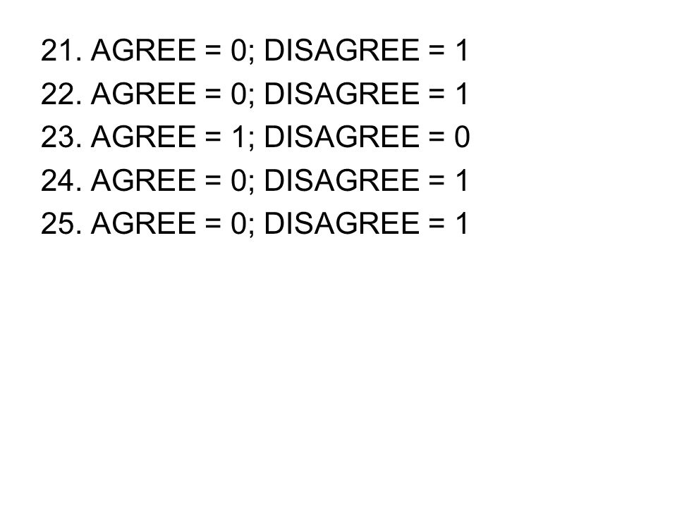 21. AGREE = 0; DISAGREE = 1 22. AGREE = 0; DISAGREE = 1. 23. AGREE = 1; DISAGREE = 0. 24. AGREE = 0; DISAGREE = 1.