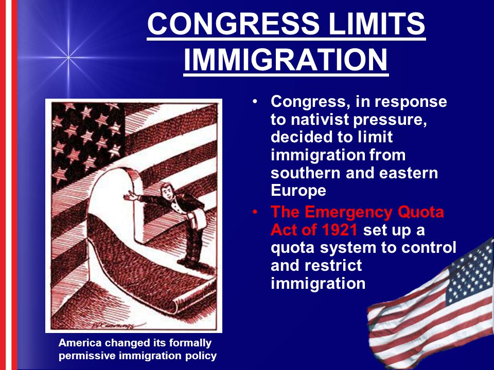 CONGRESS LIMITS IMMIGRATION