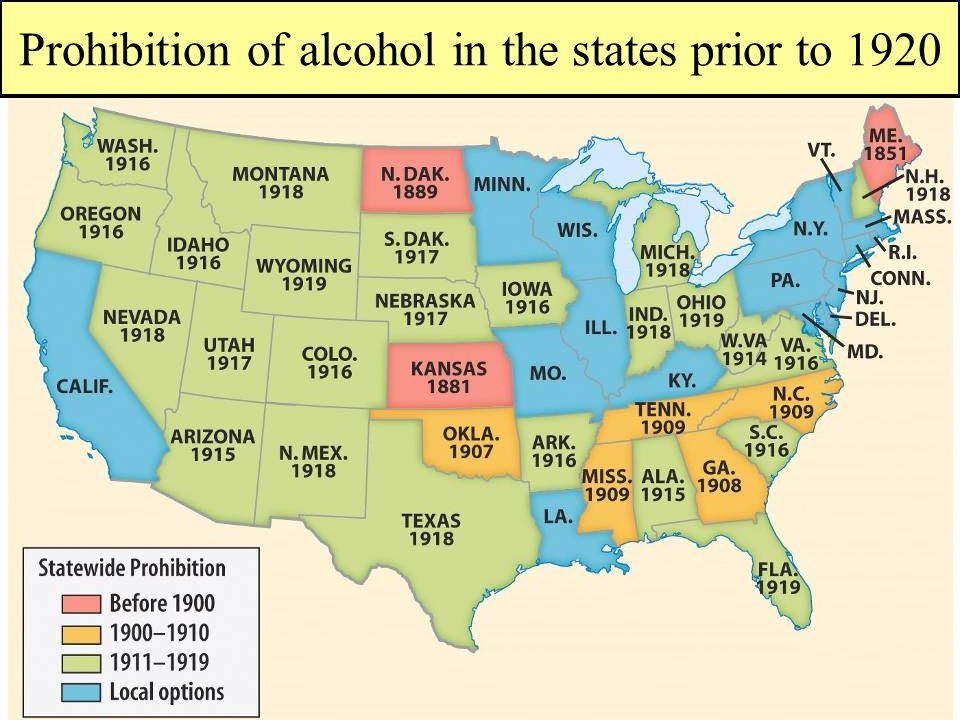 Prohibition of alcohol in the states prior to 1920