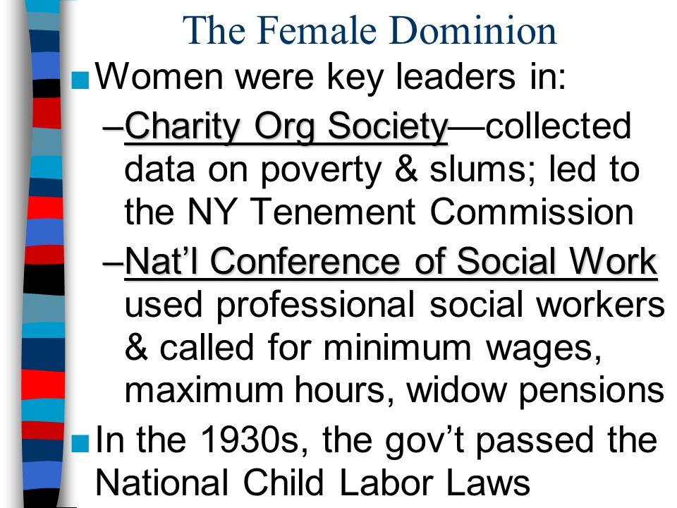 The Female Dominion Women were key leaders in: