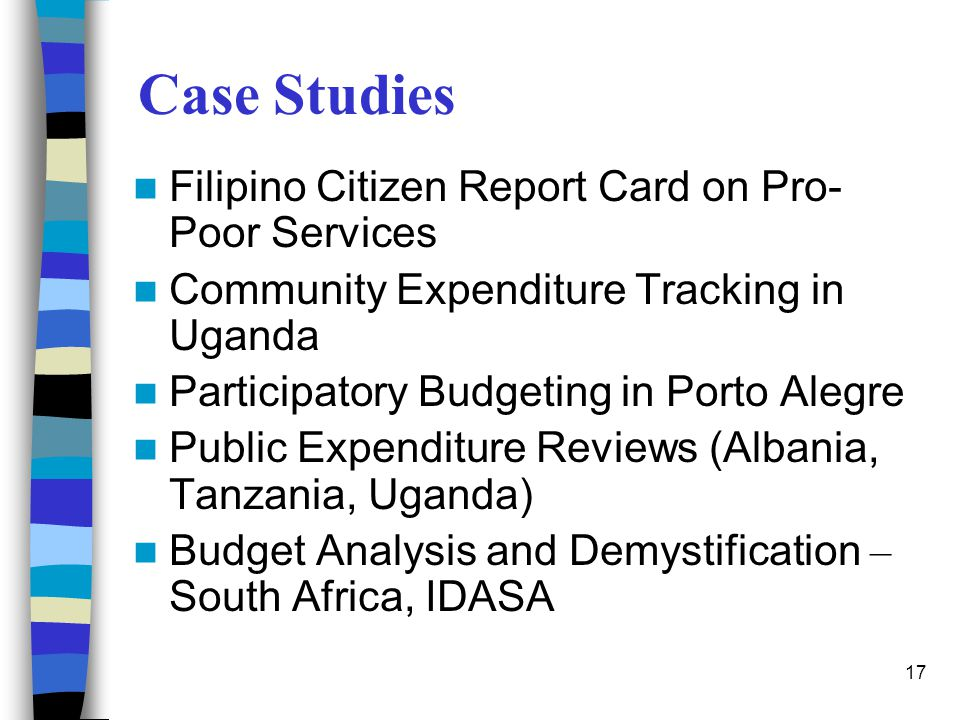 Case Studies Filipino Citizen Report Card on Pro-Poor Services