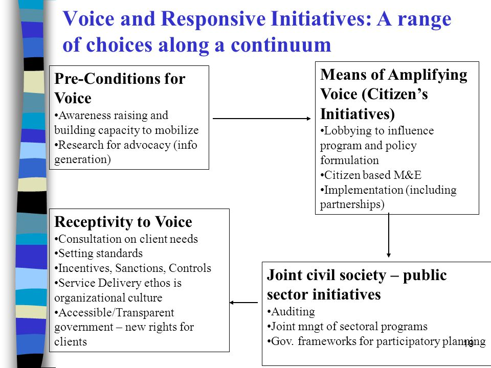 Voice and Responsive Initiatives: A range of choices along a continuum