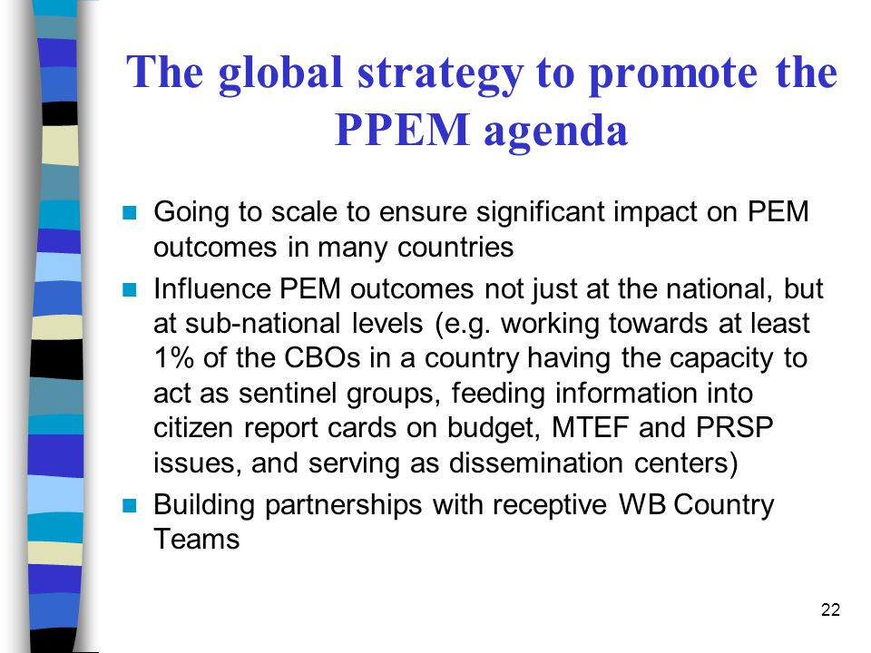 The global strategy to promote the PPEM agenda