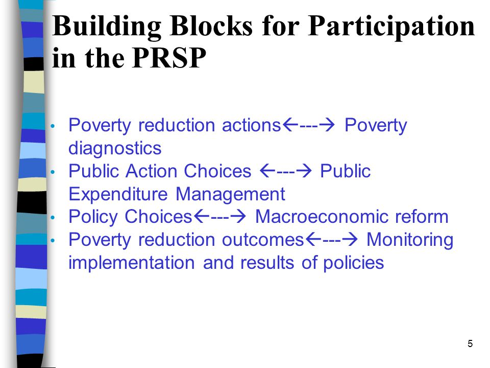 Building Blocks for Participation in the PRSP