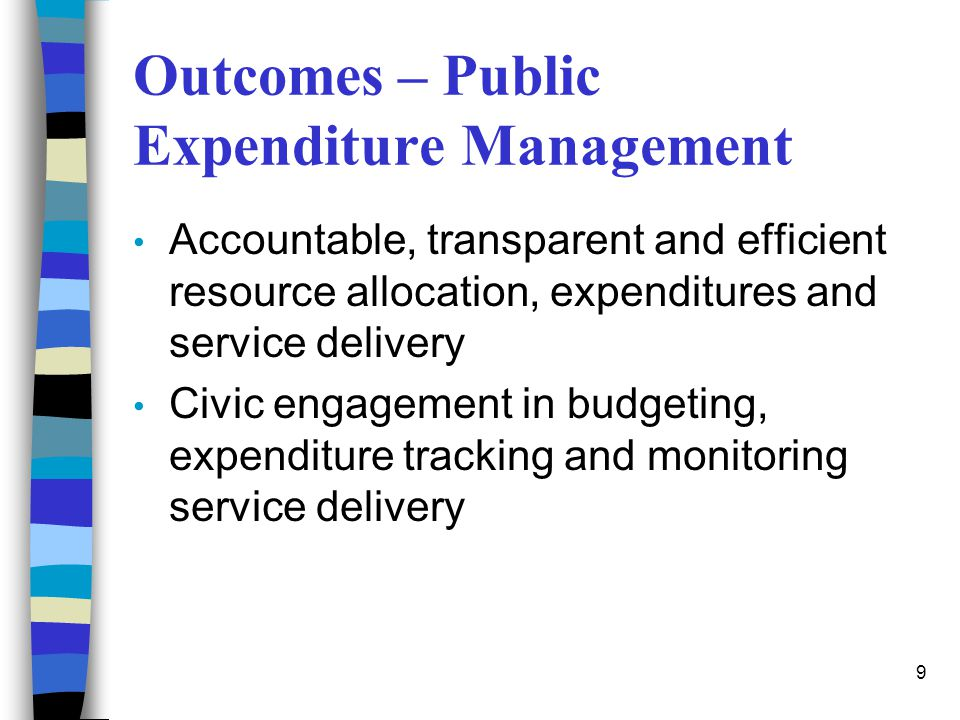 Outcomes – Public Expenditure Management
