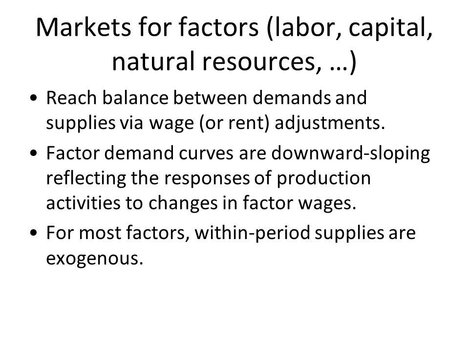 Markets for factors (labor, capital, natural resources, …)
