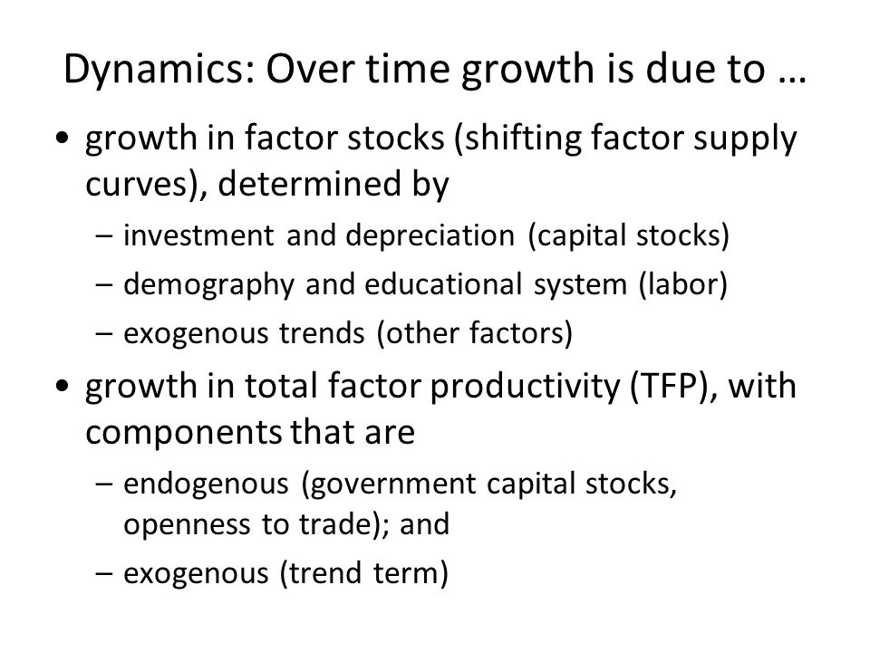 Dynamics: Over time growth is due to …