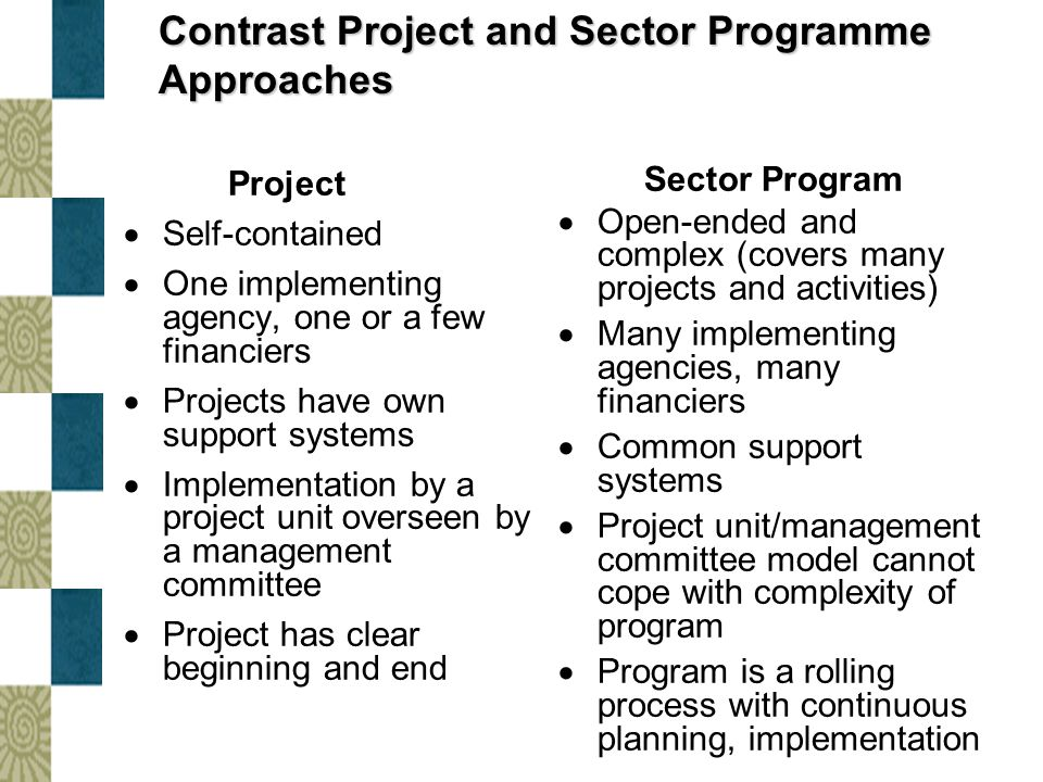 Contrast Project and Sector Programme Approaches