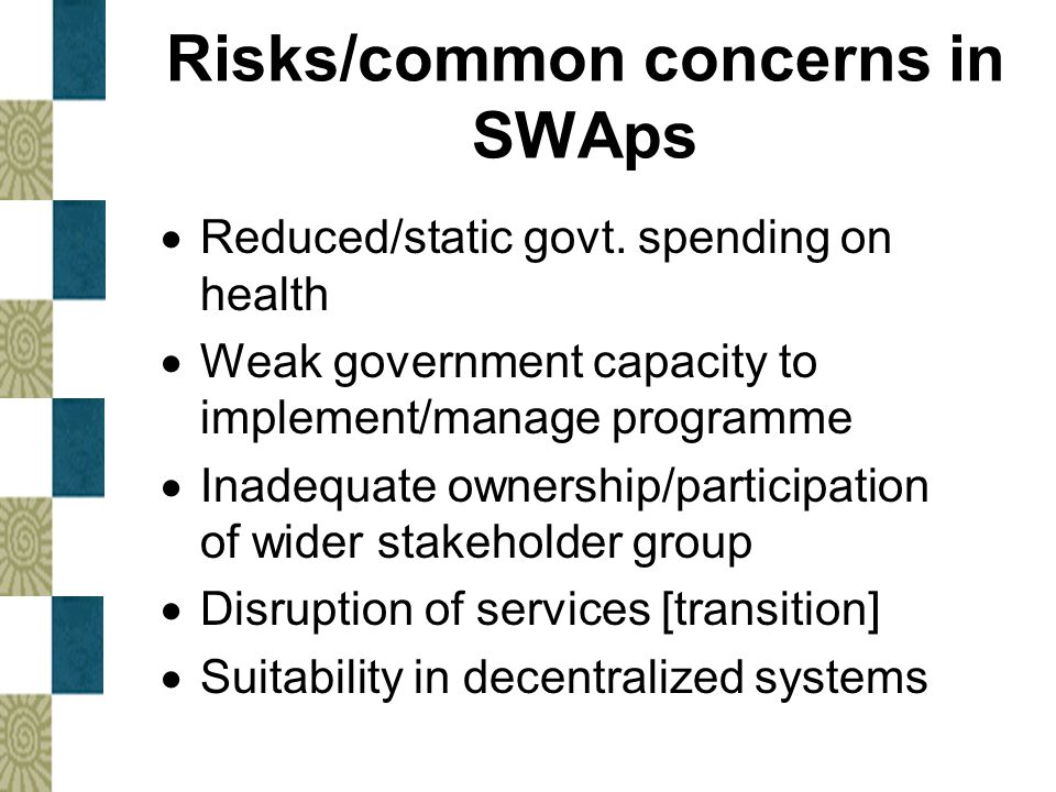 Risks/common concerns in SWAps