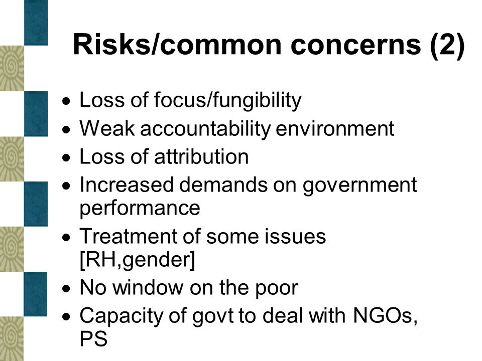 Risks/common concerns (2)