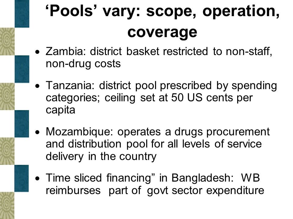 'Pools' vary: scope, operation, coverage