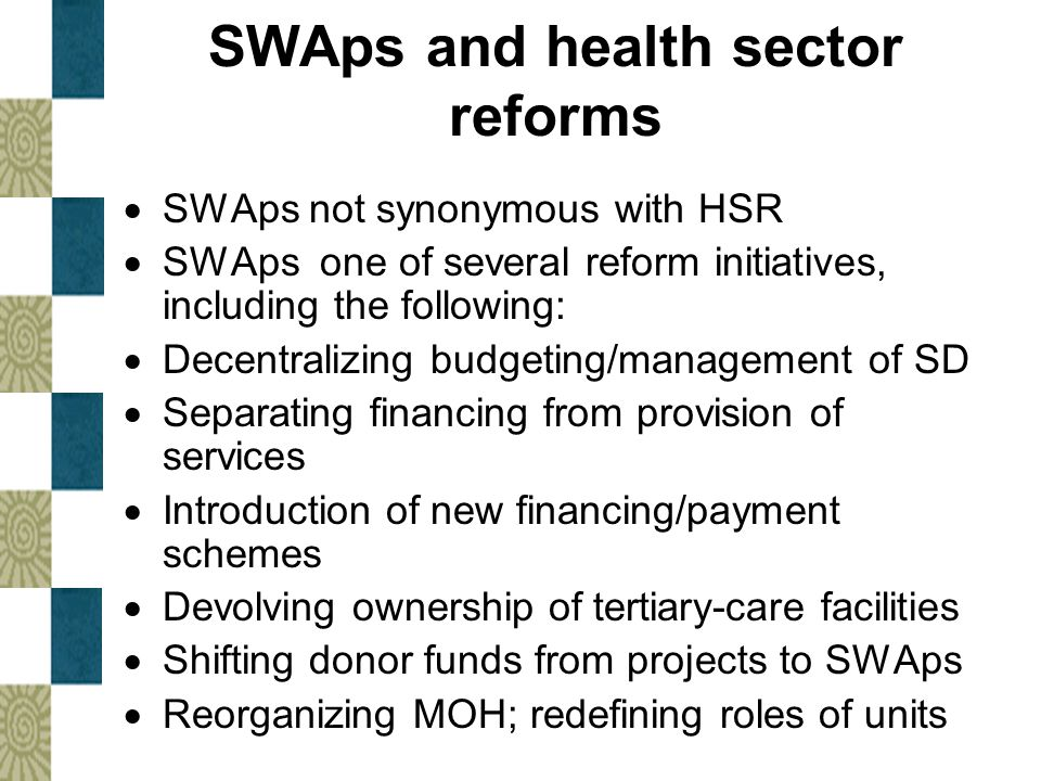 SWAps and health sector reforms