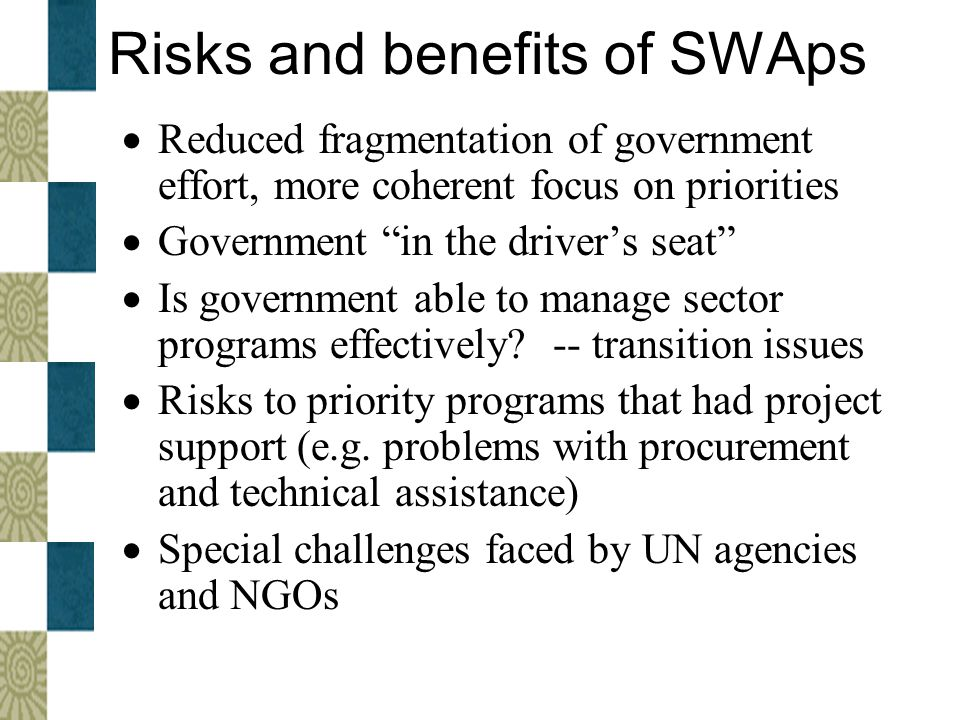 Risks and benefits of SWAps