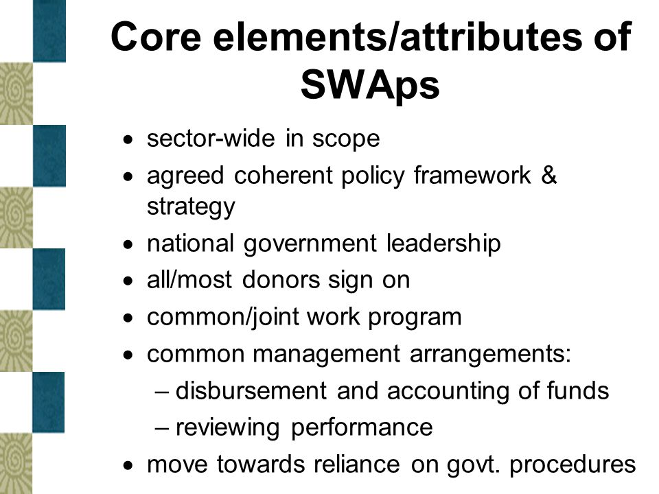 Core elements/attributes of SWAps