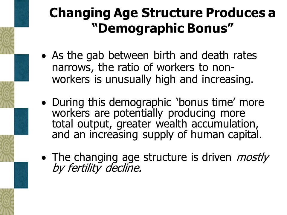 Changing Age Structure Produces a Demographic Bonus