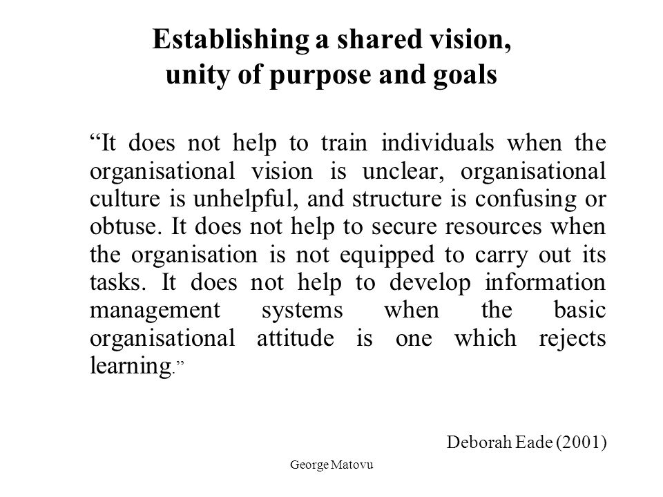 Establishing a shared vision, unity of purpose and goals