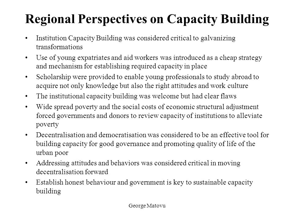 Regional Perspectives on Capacity Building