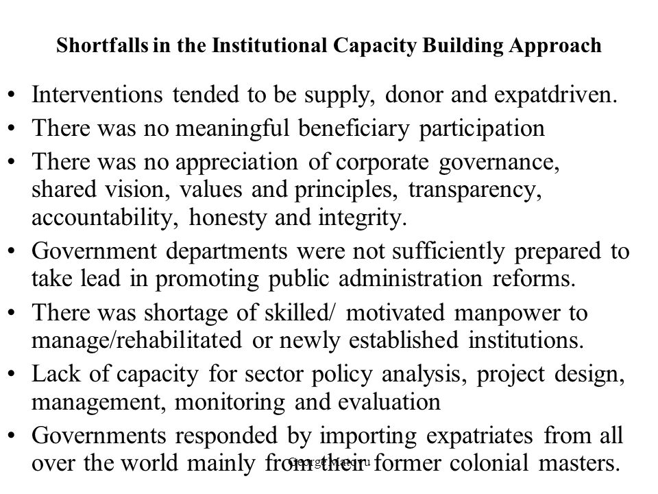 Shortfalls in the Institutional Capacity Building Approach