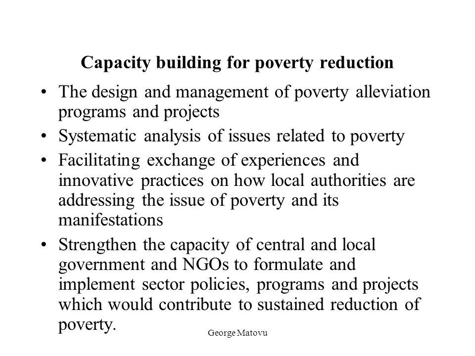 Capacity building for poverty reduction