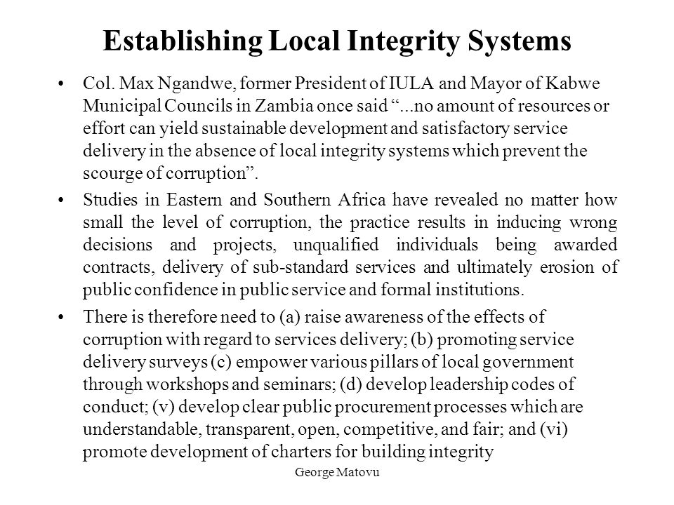 Establishing Local Integrity Systems