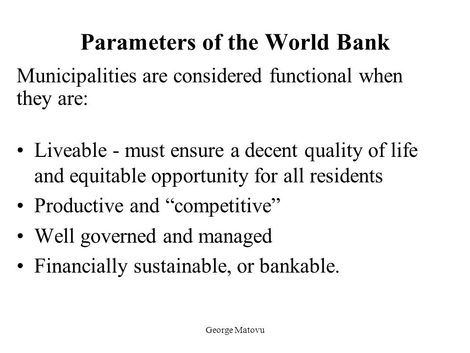 Parameters of the World Bank