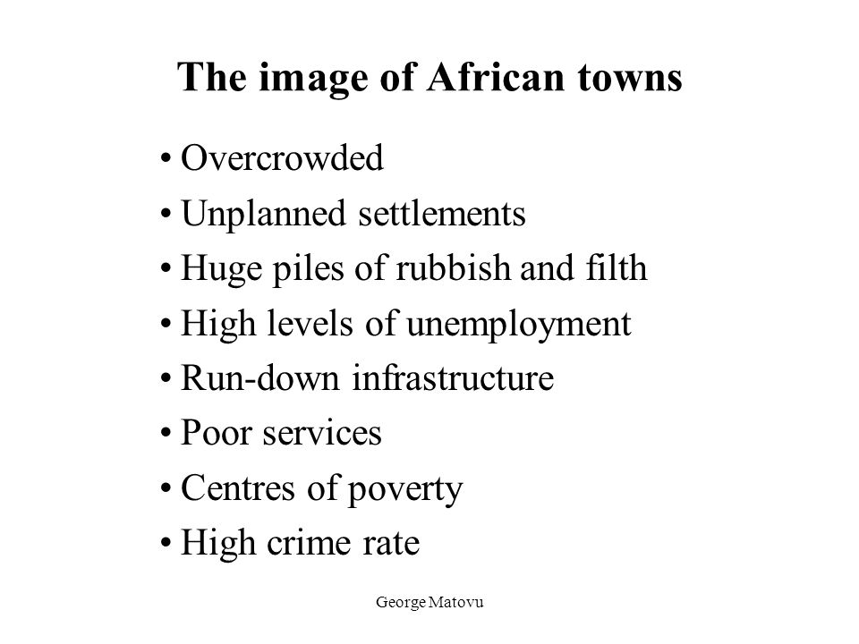 The image of African towns