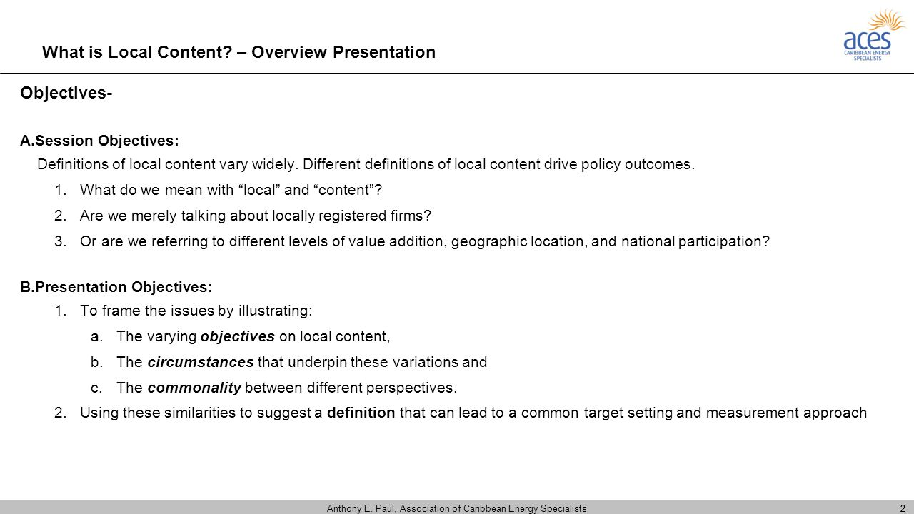 What is Local Content – Overview Presentation