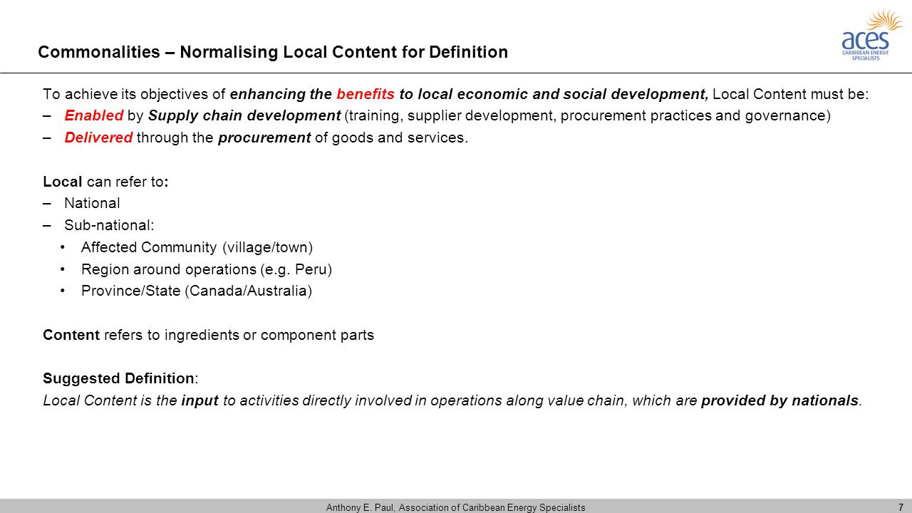 Commonalities – Normalising Local Content for Definition