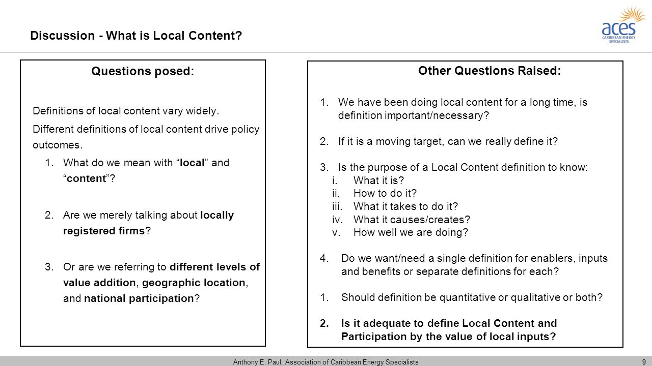 Discussion - What is Local Content