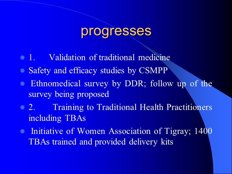 progresses 1. Validation of traditional medicine