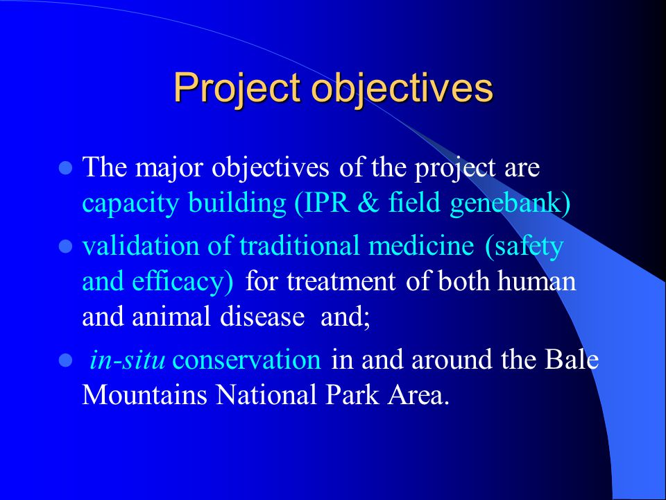 Project objectives The major objectives of the project are capacity building (IPR & field genebank)